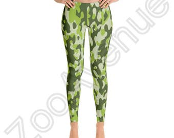 Green Camo Camouflage Leggings Yoga Pants Made in USA XS S M L XL Hunting gear Hunter gift