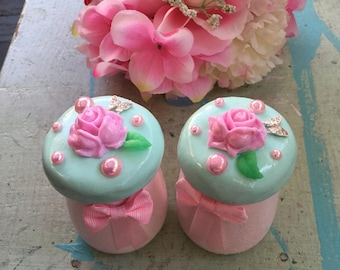 OOAK Small Glass Trinket Jars, Shabby Chic Pink Roses, Mint Green Hand Sculpted Lids, Rhinestone Butterflies, Pink Pearls, Mothers Day Gift