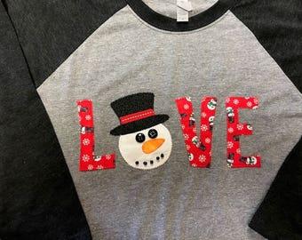 Snowman Winter Appliqued Shirt