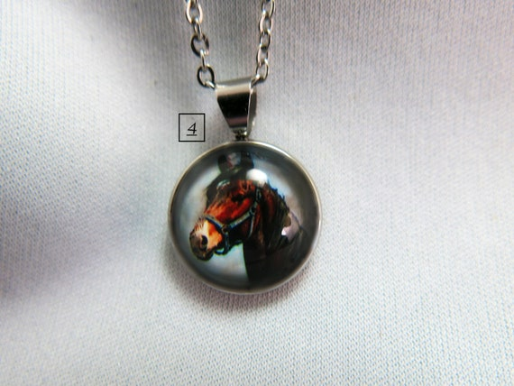 16 mm glass cabochon necklace pendant, horse image. Hypoallergenic necklace.