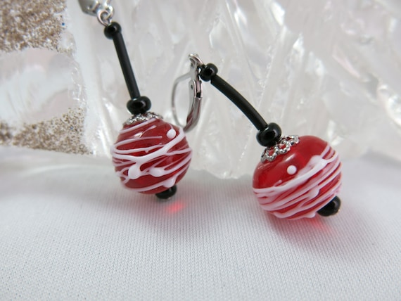 Blue earrings cocoons of red glass. Glass beads lampwork. Murano glass. Hypoallergenic