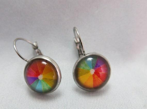 14mm glass cabochon earrings. Jewelry hypoallerigenc.