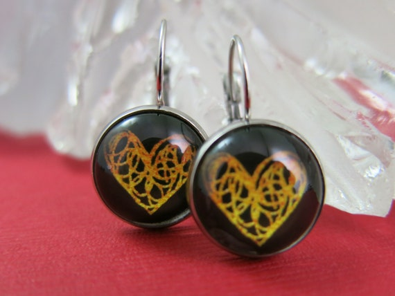 Glass cabochon earrings, heart, hypoallergic, stainless steel.