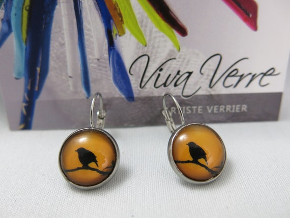 Glass cabochon earrings, birds, hypoallergic, stainless steel, cabochon