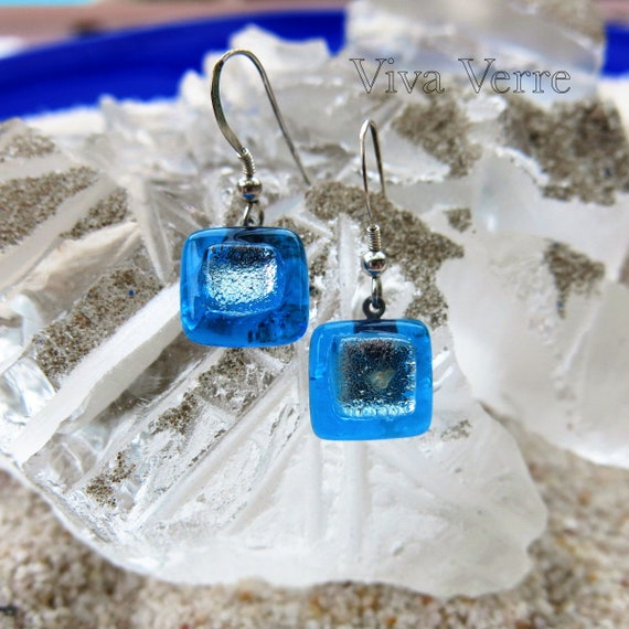 Earrings turquoise and silver glass fusion.