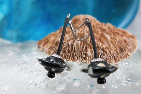 Earrings glass spun torch, hypoallergenic.