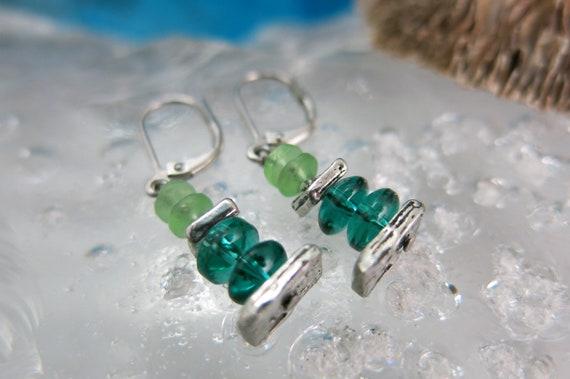 Green glass earrings.  Hypoallergenic