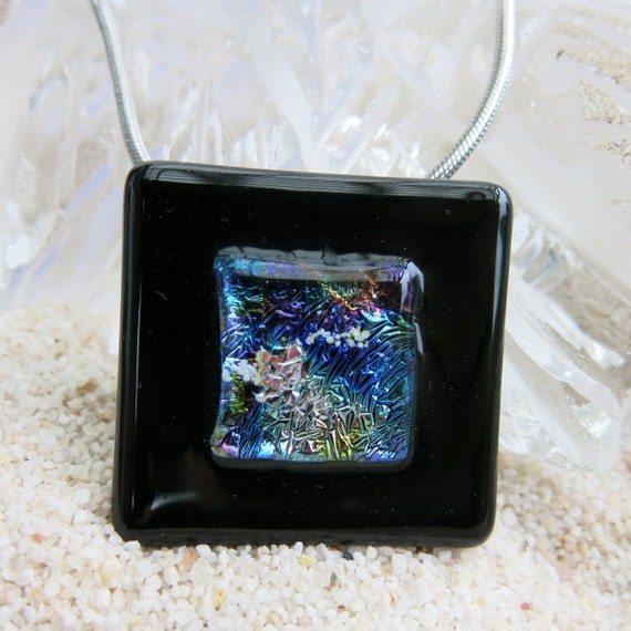 Fused glass and Dichroic Glass pendant.