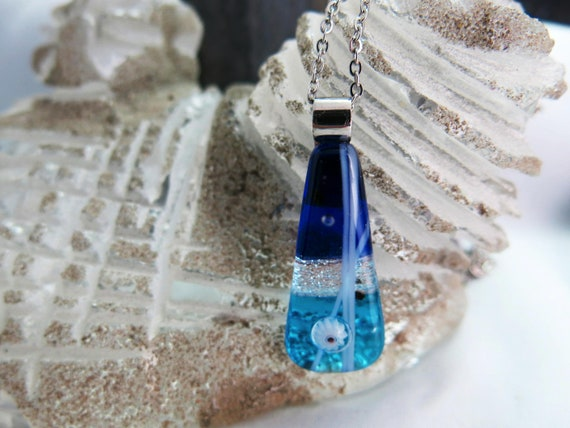 Drop drop glass fusion, chain, stainless steel, gift for it. Hypoallergenic.