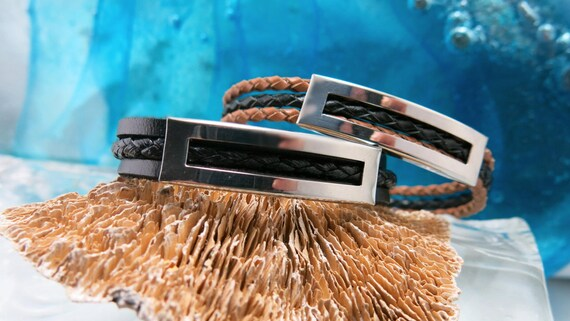 Leather bracelet for men. Stainless steel magnetic clasp.