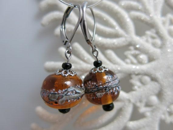 Glass ball earrings. Glass beads lampwork. Amber - Hypoallergenic.