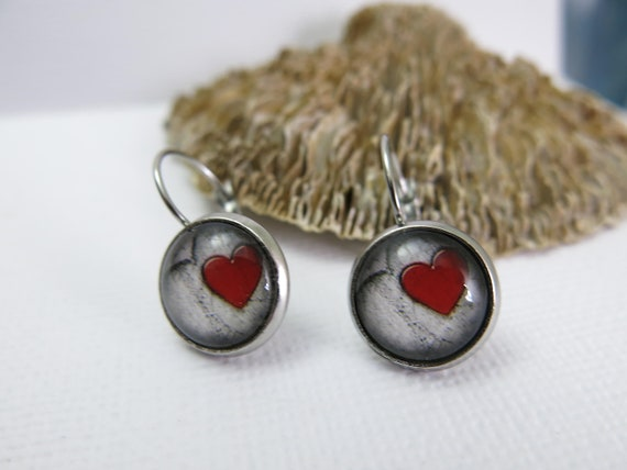 Sleeping earrings stainless steel cabochon 14 mm. Red heart/ Red heart /hypoallergenic/Sleeper earrings stainless steel