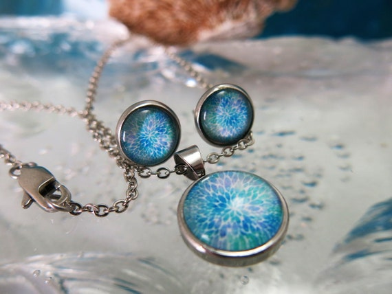 Glass cabochon pendant and Earring set.  Hypoallergenic.