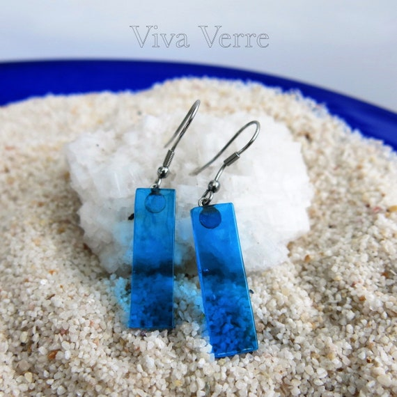 Fused glass hook earrings