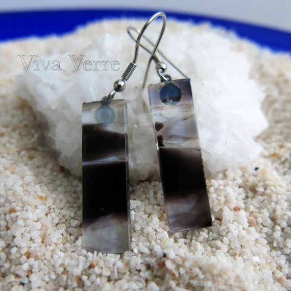 Fused glass earrings, hypoallergenic