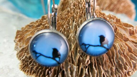 Earrings, bird, glass cabochon, hypoallergic, stainless steel.