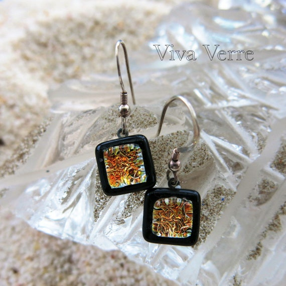 Fused glass and Dichroic Glass earring.