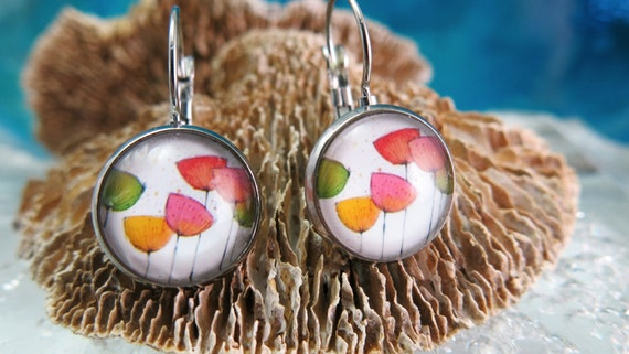 Earrings, Hypoallergenic glass cabochon, stainless steel. Poppy flowers.