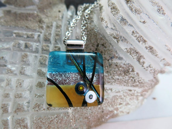 A square pendant glass fusion, chain, stainless steel, gift for it. Hypoallergenic.