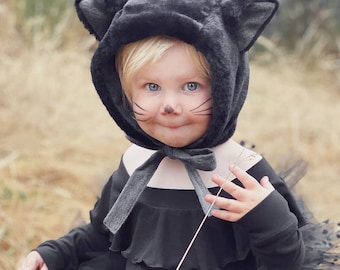 Black Cat Hat/Baby Bonnet/Black Cat Bonnet/Black hat/Faux Fur/100% cotton