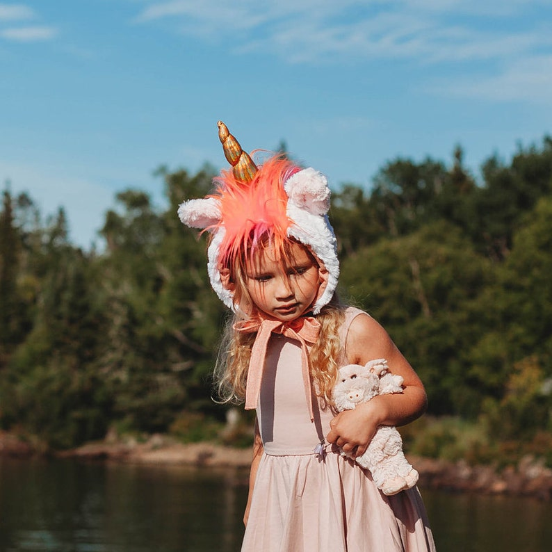 Unicorn Hat/Baby Bonnet/Unicorn Bonnet/fluffy hat/Faux image 0