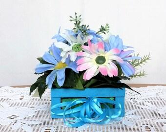 Pink Daisy Flower Arrangement, Spring Silk Flower Centerpiece, Spring Decor, Spring Floral Arrangement, Spring Table Centerpiece