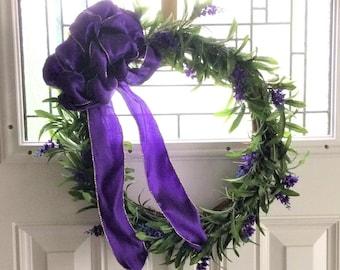 Baby Lilac Wreath, Front Door Wreath, Summer Wreath, Rustic Wreath, Outdoor Wreath, Purple Flower Wreath, Grapevine Wreath, Floral Wreath
