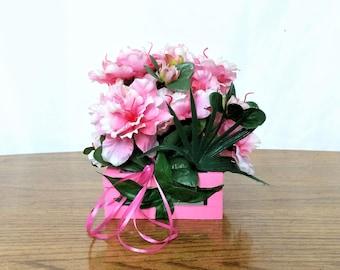 Pink Amaryllis Flower Arrangement, Spring Silk Flower Centerpiece, Easter Decor, Spring Floral Arrangement, Easter Table Centerpiece, Pink
