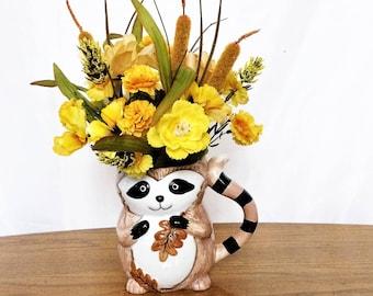 Yellow Pansy Flower Arrangement, Silk Floral Centerpiece, Fall Table Centerpiece, Yellow Floral Arrangement, Fall Home Decor, Raccoon Mug
