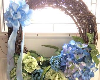 Summer Door Wreath, Front Door Wreath, Summer Wreath, Door Wreath, Blue Hydrangrea Wreath, Wedding Wreath, Summer Wreaths, Wreath for Door
