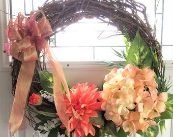 Hydrangrea Wreath, Summer Wreath, Rustic Wreath, Front Door Wreath, Summer Wreaths, Outdoor Wreath, Orange Floral Wreath, Grapevine Wreath