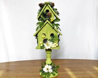Green Birdhouse Flower Arrangement, Spring Silk Flower Centerpiece, Spring Decor, Spring Floral Arrangement, Spring Table Centerpiece