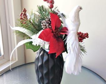 Red Poinsettia Flower Arrangement, Winter Arrangement, Artificial Flower Decor, Winter Centerpiece, Silk Flower Centerpiece, Winter Decor