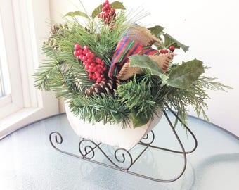 Christmas Flower Arrangement, Winter Centerpiece, Artificial Flower Decor, Winter Arrangement, Silk Flower Centerpiece, Winter Sleigh Decor