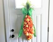 Tulip Swag, Easter Door Swag, Front Door Swag, Easter Swag, Door Swag, Carrot Swag, Spring Swag, Swag for Door, Summer Swag, Orange Swag