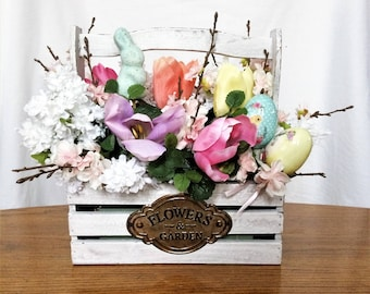 Cherry Blossom Flower Arrangement, Spring Silk Flower Centerpiece, Easter Decor, Spring Floral Arrangement, Easter Table Centerpiece, Pink