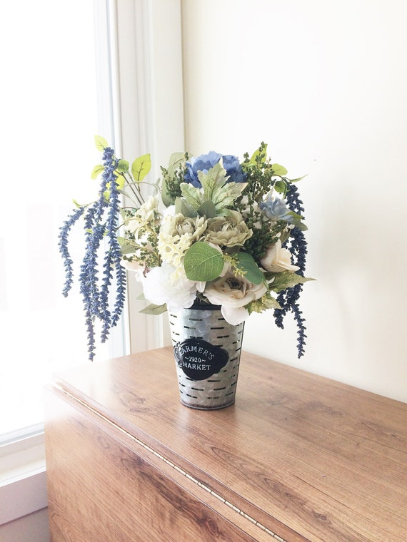 Blue Amaranthus Flower Arrangement Artificial Centerpiece Etsy
