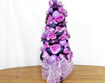 Purple Rose Flower Arrangement, Spring Silk Flower Centerpiece, Easter Decor, Spring Floral Arrangement, Easter Table Centerpiece, Spring