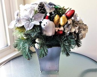 Silver Hydrangea Flower Arrangement,  Winter Centerpiece, Artificial Flower Decor, Silk Flower Centerpiece, Winter Arrangement, Winter Decor