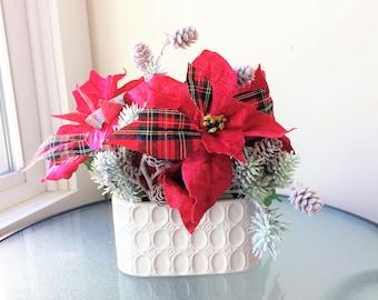 Plaid Poinsettia Flower Arrangement, Winter Arrangement, Artificial Flower Decor, Winter Centerpiece, Silk Flower Centerpiece, Winter Decor