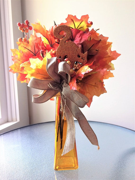 Orange flower arrangement small silk flower arrangement fall etsy image 0 mightylinksfo