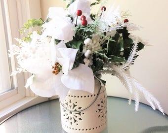 Poinsettia Flower Arrangement,  Winter Centerpiece, Artificial Flower Decor, Silk Flower Centerpiece, Winter Arrangement, Winter Decor