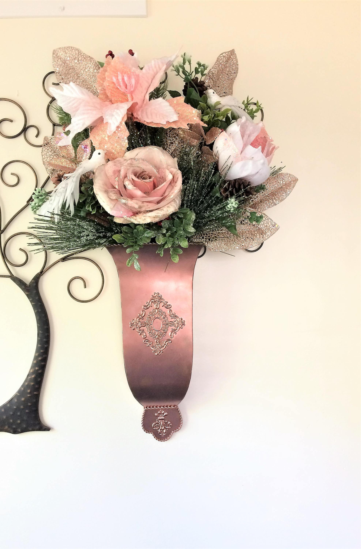 Pink Rose Wall Sconce Silk Winter Wall Pocket Winter ... on Pocket Wall Sconce For Flowers id=23056