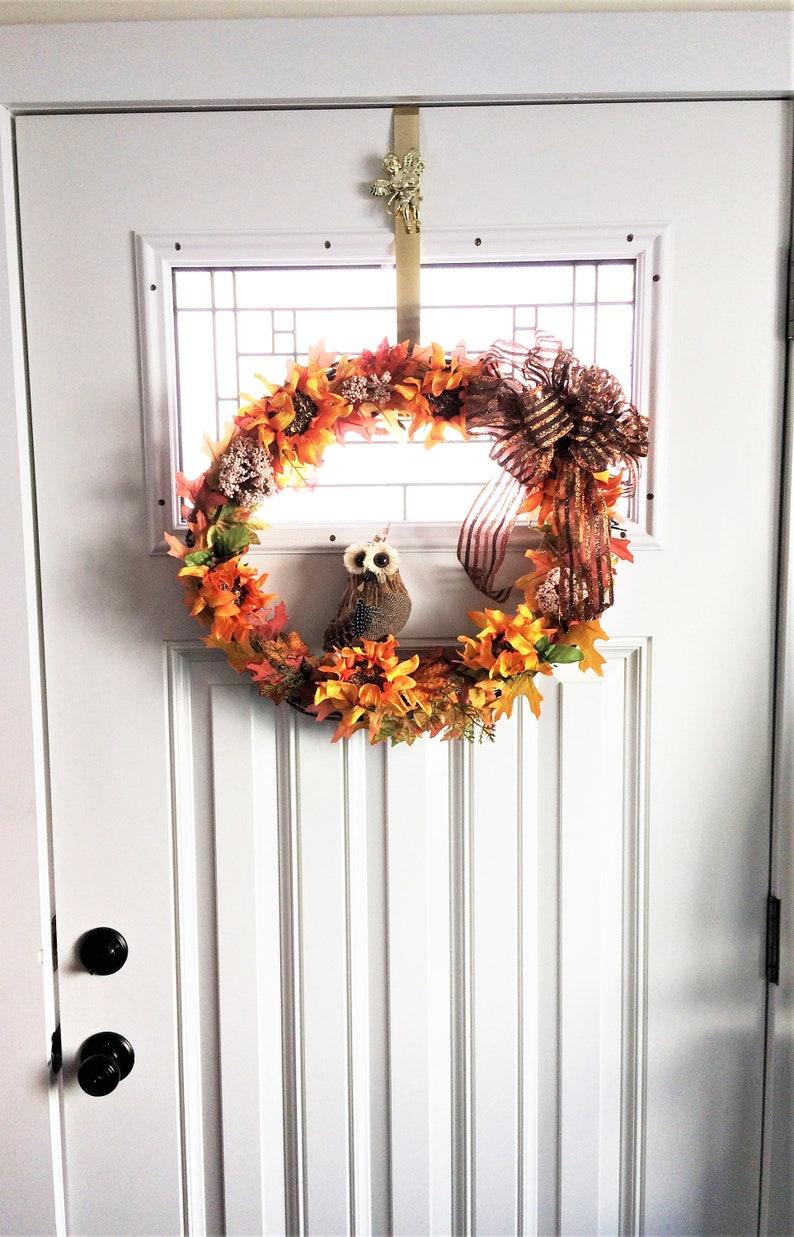 Housewarming Gift Orange Sunflower Wreath Fall Door Wreath Fall Wreath Rustic Wreath Owl Wreath Autumn Wreath Front Door Wreath