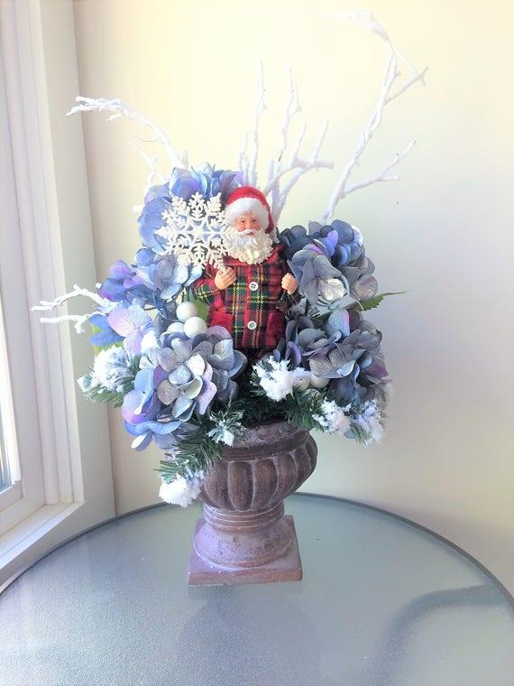Silver hydrangea flower arrangement winter centerpiece etsy