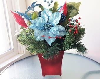 Blue Poinsettia Flower Arrangement,  Winter Centerpiece, Artificial Flower Decor, Silk Flower Centerpiece, Winter Arrangement, Winter Decor