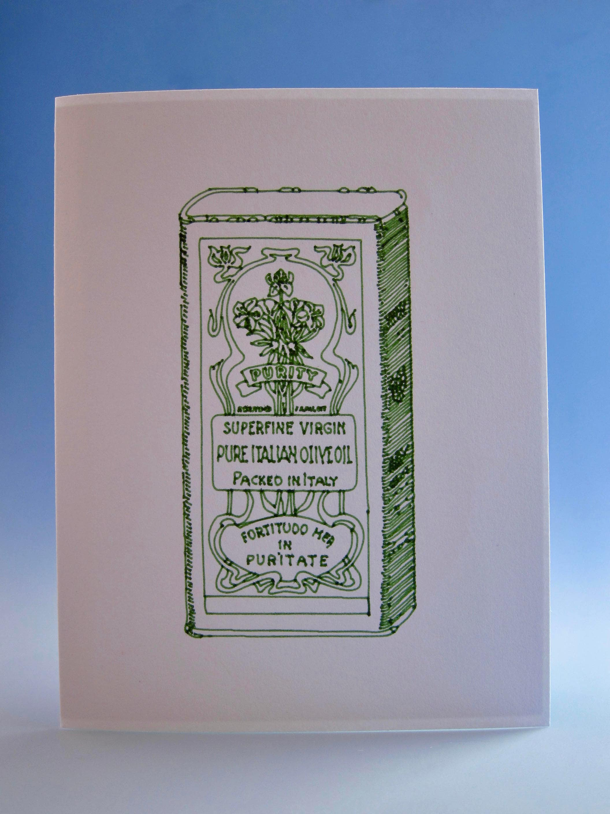 Olive Oil Card Italian Greeting Card Hand Drawn Olive Oil Card