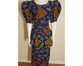 Blue and multi African print combo: top and skirt