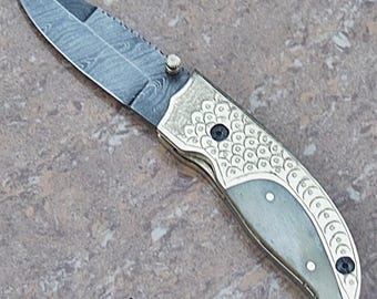 100% Handmade & Forged Smart and Sharp Camel Bone and Hand Engraved Brass Bolster Handle Folding Knife AA-12107