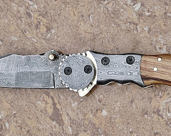 100% Handmade & Forged Smart and Sharp Rose Wood and hand Forged Damascus Steel Bolster Handle Folding Knife AA-12114